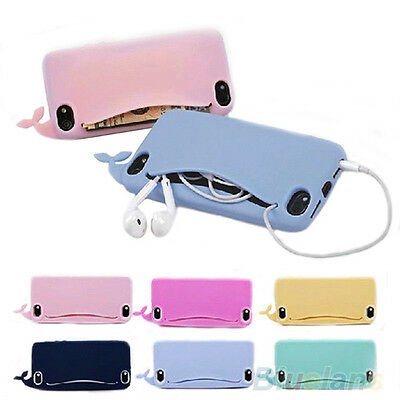 Cute Big Mouth Whale Rubber Card Holder Soft Case Cover For iPhone 4/4S/5/5S BJ4