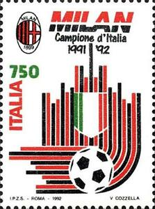 ITALIA-ITALY-1992-Milan-Winner-Calcio-Football-Soccer-Sport-Stamp-MNH