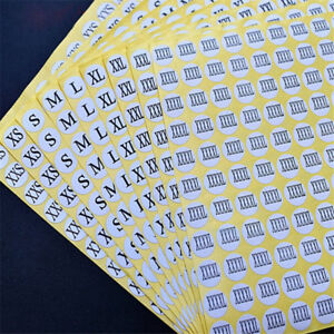15 Sheets XXS to 5XL Clothes Size Stickers Round Self-Adhesive Clothing Labels