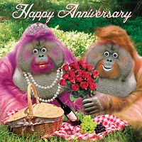 """""""Happy Anniversary"""" Greeting Card  Funny Cute Orangutans Goggly 3D Moving Eyes"""