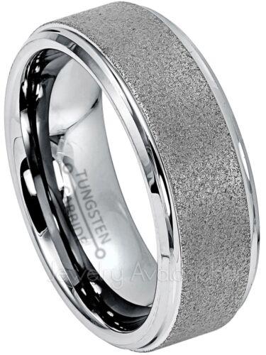 Men/'s Gunmetal Tungsten Wedding Band Sandblasted Finish Tungsten Ring 8MM