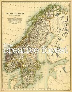 Karte Norwegen Schweden.Details Zu Schweden Norwegen 1887 Antik Karte Reproduktion Gerollt Leinen Aufdruck