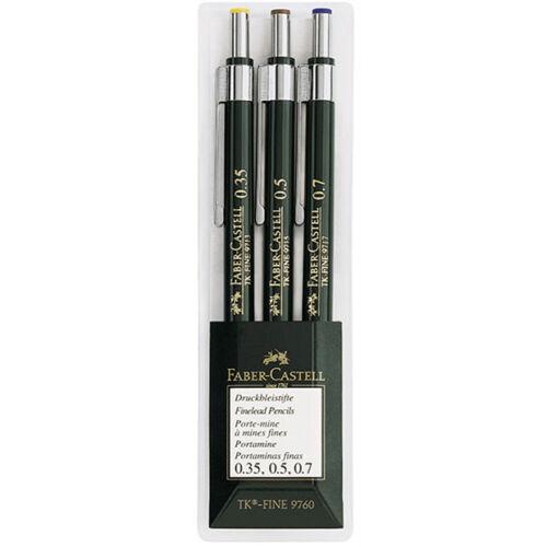 0.35,0.5, 0.7 Tk-Fine Lead Pencils Wallet of 3 Faber-Castell