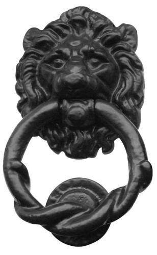 37120 Grand Lion Head Door Twisted Knocker en noir en fonte