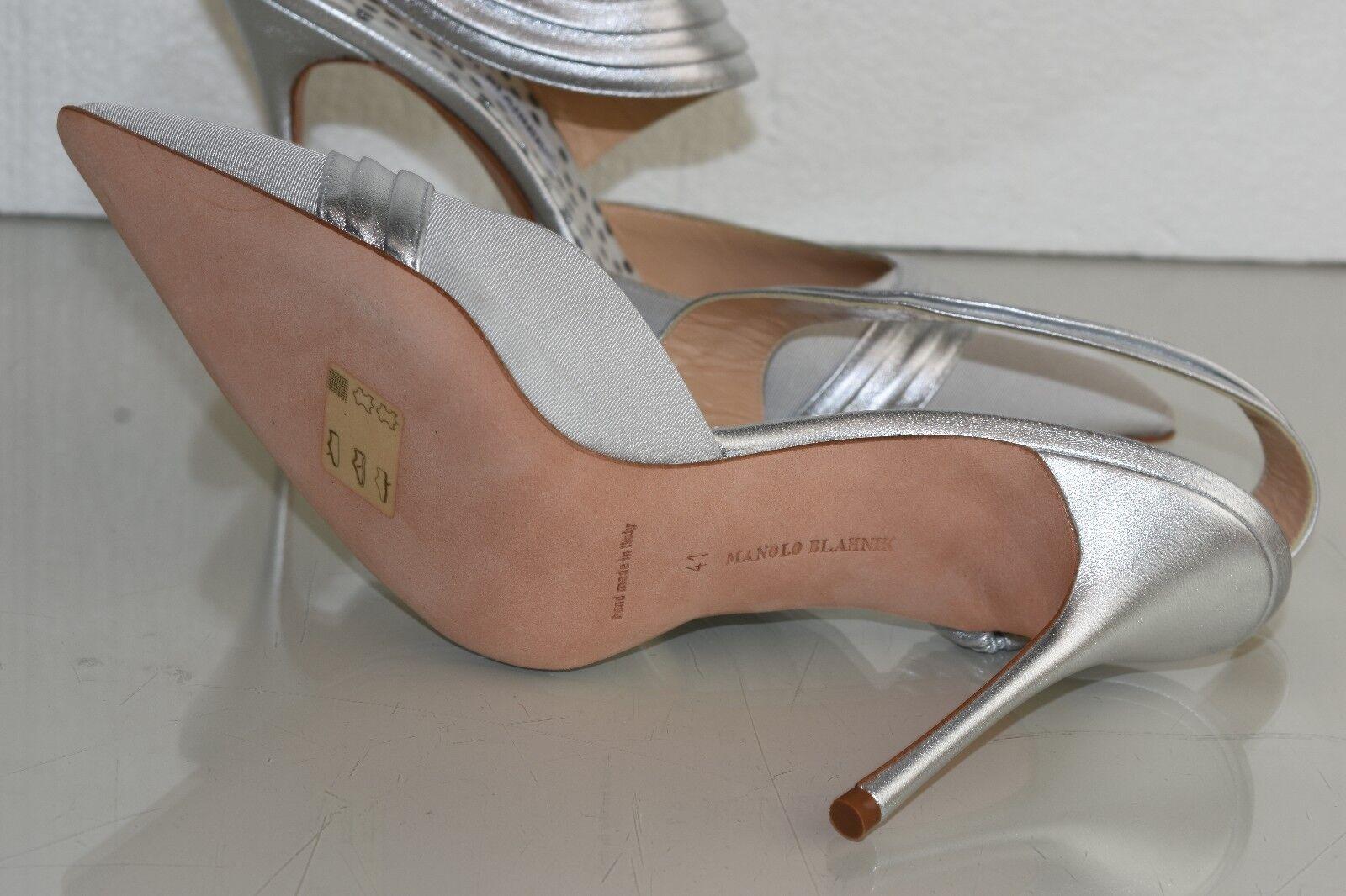 NEW Manolo Blahnik ALLA 105 Grosgrain Grosgrain Grosgrain Leather argent Pumps chaussures 41 Wedding a4e1f1