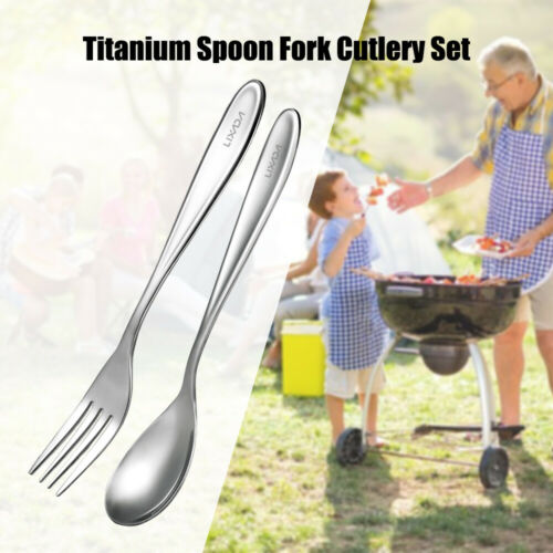 Lixada Titanium Spoon Fork Cutlery Set Lightweight Full Length Dinner Fork Y6M0