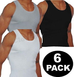 New-Mens-6-Pack-Vests-Pure-Cotton-Gym-Top-Summer-Training-S-M-L-XL-2XL