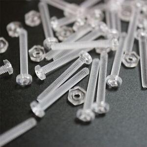 50-x-Acrilico-Bulloni-e-Dadi-M2-x-16mm-in-Plastica-Trasparente-Acrilico-Viti