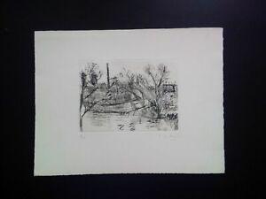 Belle gravure signée et numérotée paysage n°8/50 ville signature à identifier