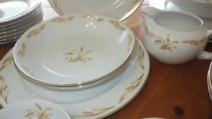 Vintage China Dinnerware set Golden Grain by Abalone China CO 26pc Serving  bowl