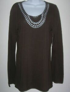 Athleta-Brown-Sweater-Womens-M-Organic-Cotton-Crochet-Beaded-Open-Neckline-NEW