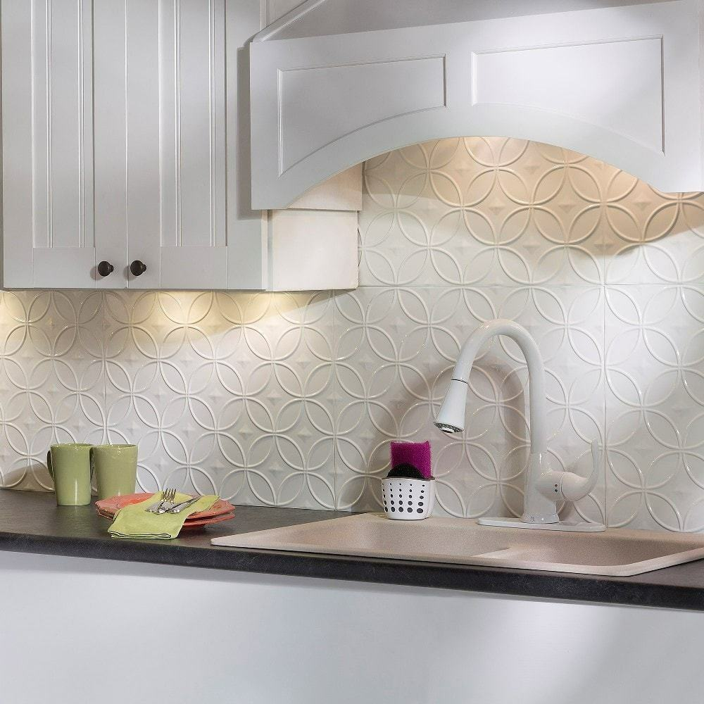 - Kitchen Backsplash Decorative Vinyl Panel Wall Tiles Antique Metal