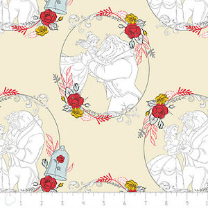 Disney-Beauty-amp-the-Beast-Belle-Love-Dance-Cream-100-Cotton-fabric-by-the-yard