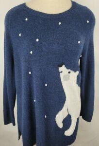 LAUREN-CONRAD-Womens-Size-XL-Blue-Fuzzy-Soft-Polar-Bear-Long-Sleeve-Sweater