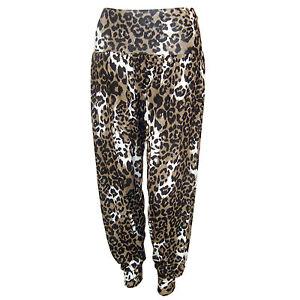 NUOVA L DONNA Animale Leopardo Stampa Harem Hareem Ali Baba Pantaloni Pants 8-20