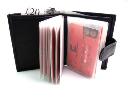 QUALITY SOFT BLACK REAL LEATHER CREDIT CARD HOLDER WALLET PURSE HOLDS 24 CARDS