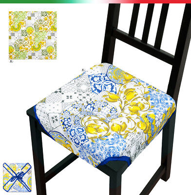 Cuscino copri sedia UNIVERSALE trapuntato limoni cucina cotone alette lacci | eBay