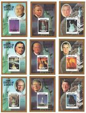 Nove Statua della Libertà Presidente HOOVER FORD Nixon Imperf MNH STAMP sheetlets