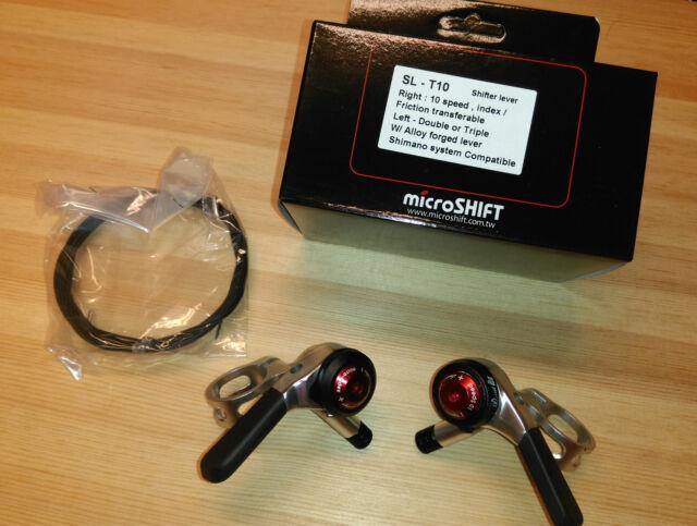 MicroSHIFT Flat Bar shifter 2x10, SL-T10,  Shimano Compatible, Index / Friction