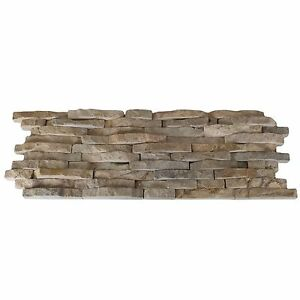 Charmant Split Face Mini Mosaic Tile Ledge Beige Stone (échantillon)-afficher Le Titre D'origine