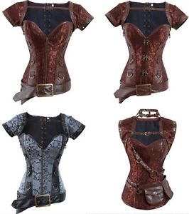 Full-set-Retro-gothic-Boned-steampunk-Corset-Bustier-top-belt-shawl