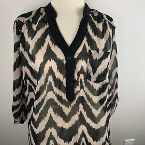 ALYX-Woman-3-4-Sleeve-Top-Blouse-Plus-Size-1X-Black-Tan