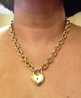 Milor Bronze Italy 20 Polished Rolo Necklace Puffed Heart / Lock Stunning