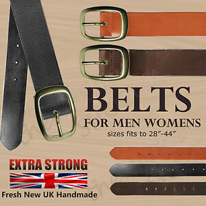 """Full Grain Real Hide Leather Black 1.25/"""" Or 30mm Jeans Trouser Belt Mens Womens"""