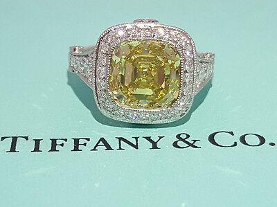 Tiffany & Co 5.15 ct Platinum Legacy Cushion Fancy Intense Yellow Diamond Ring