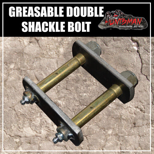 "GREASABLE TRAILER CARAVAN DOUBLE SHACKLE SPRING BOLT & NYLOC NUT.  5/8"" X 4"" ."