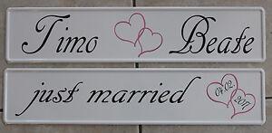 Kfz Kennzeichen Hochzeitsschil<wbr/>d  Namen mit Herzen und &#034;just married&#034;  AR Decode