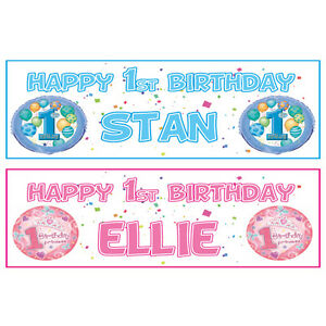 Image Is Loading 2 Personalised Hy 1st Birthday Banners Boy Or