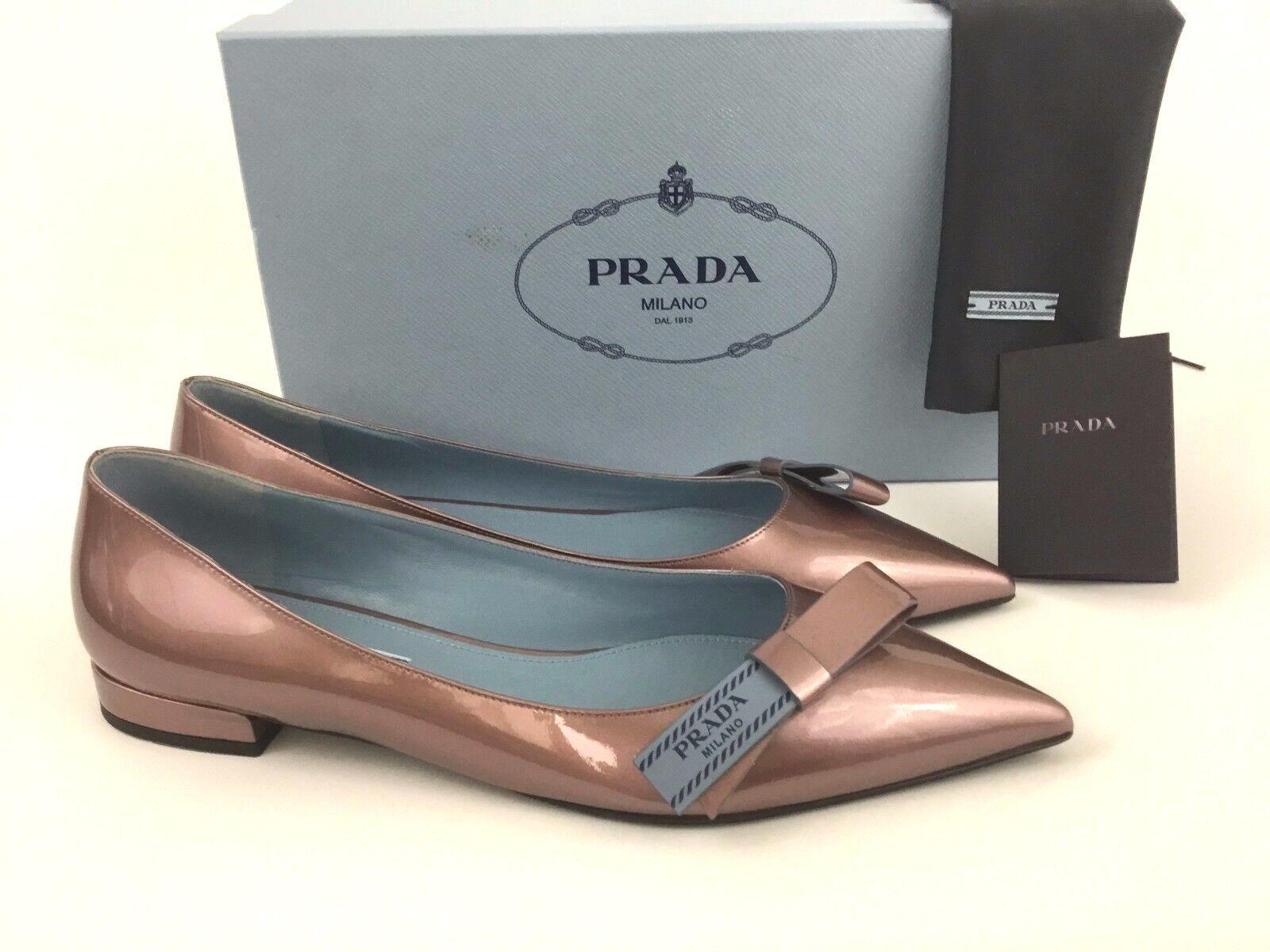 PRADA Logo Bow Pointy Toe Mauve Patent Leather Ballet Ballet Ballet Flat 39 9 8387ba