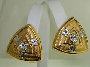 STUNNING-VINTAGE-SIGNED-1970-039-S-BRILLIANT-RHINESTONE-W-SATIN-GOLD-EARRINGS