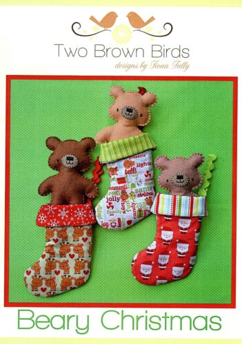 Stocking Bear Beary Christmas Sewing Craft A5 Creative Card PATTERN