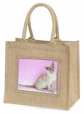lila Burmesische Katze große natürliche jute-einkaufstasche Weihnachten
