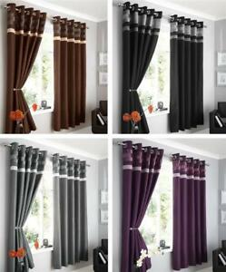 Image Is Loading MODERN FAUX SILK LINED CURTAINS PLUM BROWN BLACK