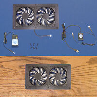 Dual Mega-fan Usb-controlled Cabinet/computer Desk Cooling Fans, With Multispeed