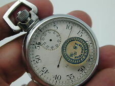 VINTAGE 1919 ELGIN STOP WATCH TIMER, CHROME CASE NEEDS CLEANING MAINSRPRING PART