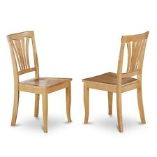 East West Furniture AVC-OAK-W Dining Room Chair Wood Seat - Oak Finish, Set Of 2