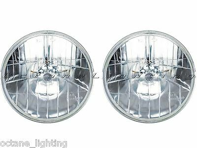 "7"" Crystal Clear Halogen Sealed Beam Glass Headlight Light Bulbs 12V Pr Diamond"