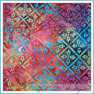 BonEful Fabric VTG Batik Cotton Quilt Flower Diamond Rainbow Hippie Groovy SCRAP