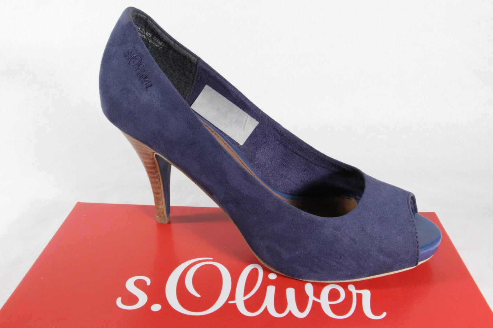S.Oliver Zapatos de Tacón ,Azul, Suela de Cuero, Cuero, Cuero, Muy Tacón Alto Nuevo  tomar hasta un 70% de descuento