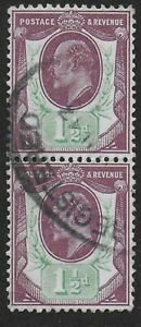SG288-1-amp-1-2d-Dull-Purple-amp-Green-A-Very-Fine-Used-Vertical-Pair-Ref-0742
