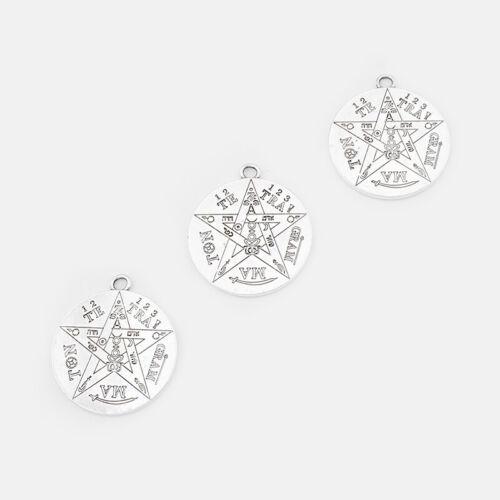 5Pcs Tetragrammaton Pentagramme Pentacle CHARMS pendentifs double face Wiccan Pagan