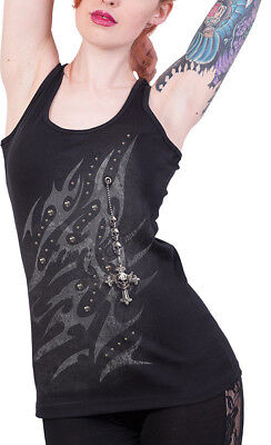Spiral Direct SKULLS N ROSES Tattoo Back Mesh Sublimated Vest//Tattoo//Rock//Top
