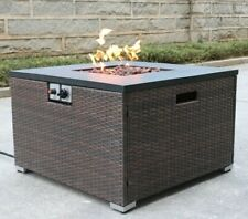 Rattan Fire Table with Lid and Lava Rocks - Gas Tank Holder Included