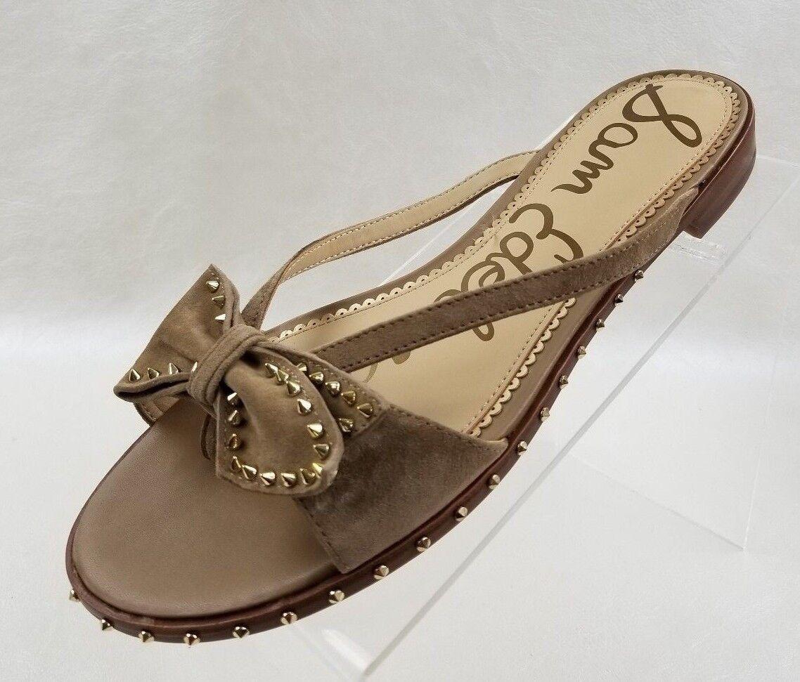 Sam Edelman Dariel Sandales Damenschuhe Bow Studded Flat Slide Tan Suede Schuhes Größe 10
