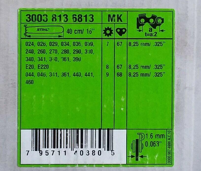 "270 290 .325/"" 1.6 mm 3003 000 6813 280 260 STIHL Guide Bar 16/"" Rollomatic 240"