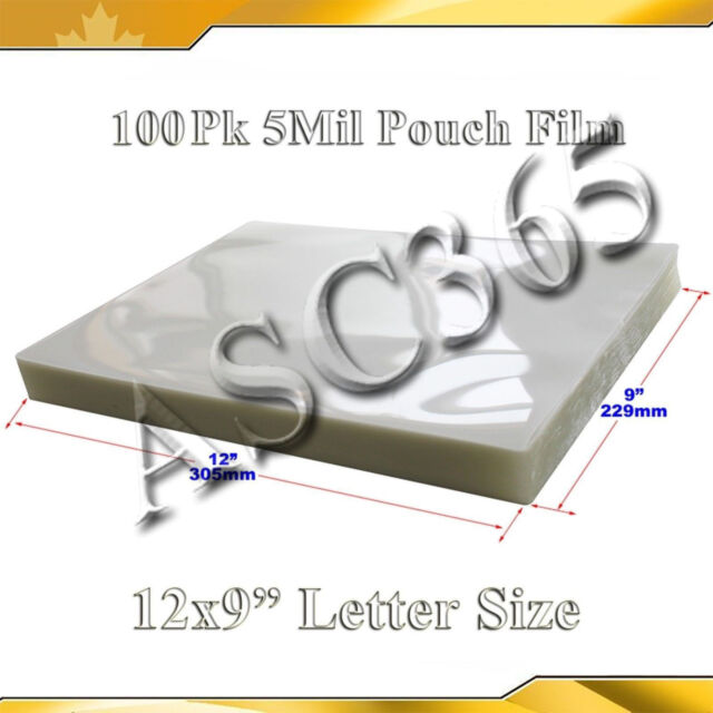 """12x9"""" 100PK Pouch Laminating Film  Clear Style 5Mil 2Flap Glossy for Laminator"""